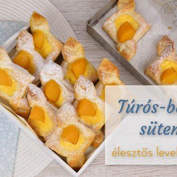 Túrós-barackos sütemény, előhűtött élesztős leveles tésztából
