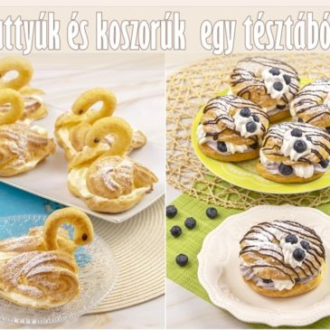 Vaníliakrémes hattyúk és áfonyás-tejszínes koszorúk
